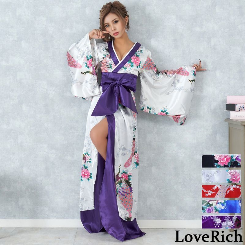 画像1: 孔雀和柄ロング着物ドレス 和柄 よさこい 花魁 コスプレ キャバドレス (1)