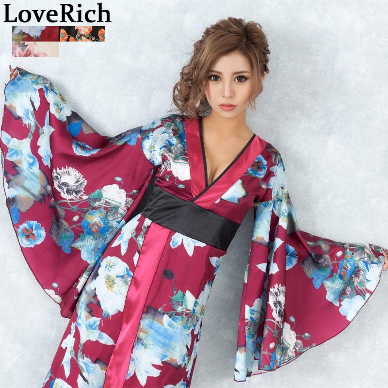 画像1: フラワーロング着物ドレス 和柄 よさこい 花魁 コスプレ キャバドレス (1)