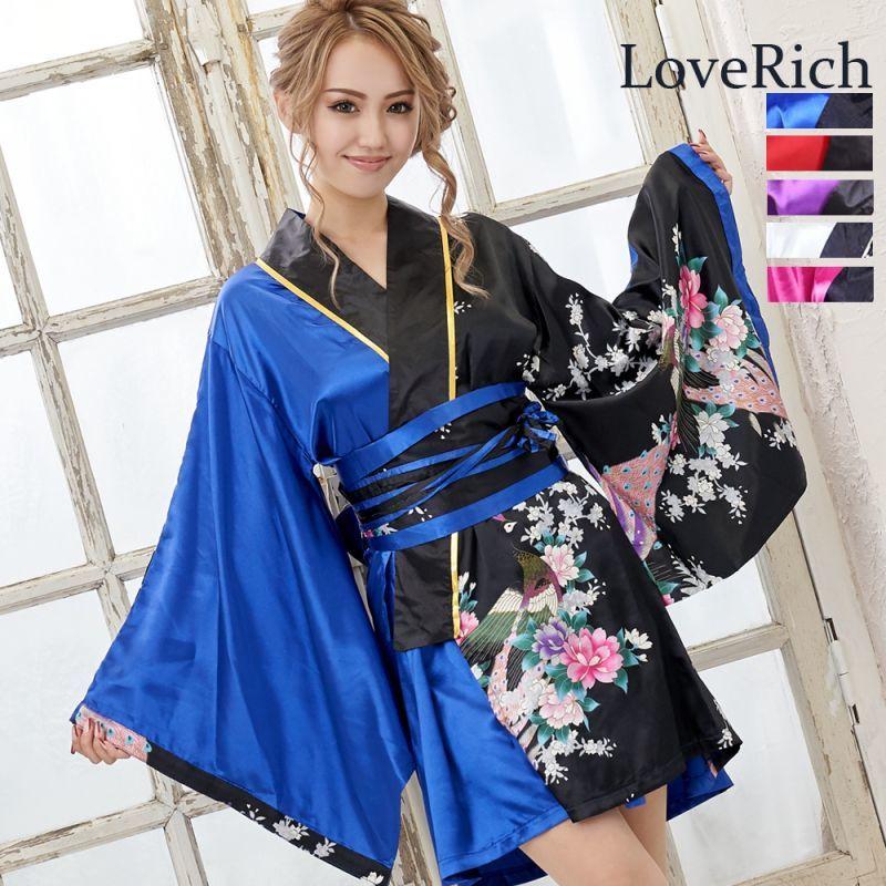 画像1: サテン和柄花魁ミニ着物ドレス 和柄 よさこい 花魁 コスプレ キャバドレス (1)