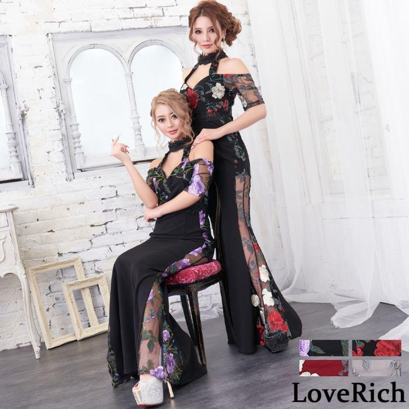 画像1: 刺繍 レース シースルー ロングドレス キャバドレス (1)