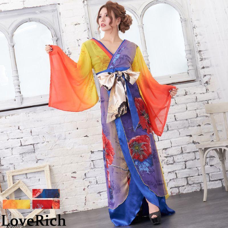 画像1: シフォン 花柄 豪華帯 パネル柄 ロング着物ドレス 衣装 ダンス よさこい 花魁 コスプレ キャバドレス (1)