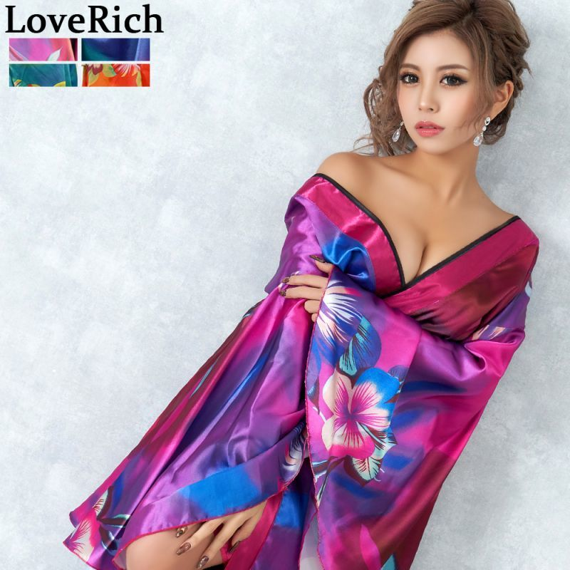 画像1: グラデーションロング着物ドレス 和柄 よさこい 花魁 コスプレ キャバドレス (1)