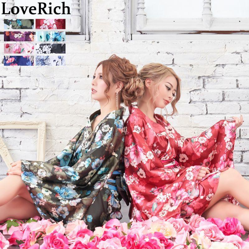 画像1: サテン花柄花魁ミニ着物ドレス 和柄 よさこい 花魁 コスプレ キャバドレス (1)